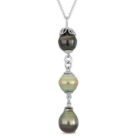 Miadora Sterling Silver Tahitian & Golden South Sea Cultured Pearl Y-Necklace (9-11mm)