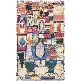 Hand Knotted Moroccan Semi Antique Wool Area Rug - Multi - 4' 2 x 7'
