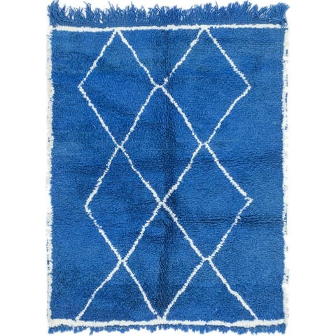 Hand Knotted Moroccan Semi Antique Wool Area Rug - 3' 6 x 4' 5