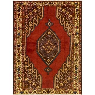 Hand Knotted Mazlaghan Semi Antique Wool Area Rug - 4' 5 x 6' 5