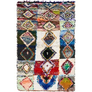 Hand Knotted Moroccan Semi Antique Cotton Area Rug - Multi - 4' 9 x 7' 6