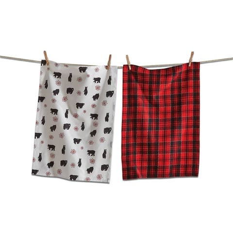 TAG Lodge Bear Dishtowel Set Of 2 Red