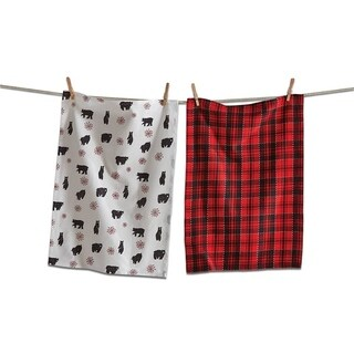 TAG Lodge Bear Dishtowel Set Of 2 Red - N/A