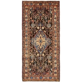 Hand Knotted Nahavand Semi Antique Wool Runner Rug - 5' x 10' 5