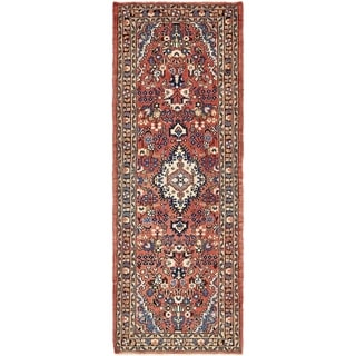 Hand Knotted Mehraban Semi Antique Wool Runner Rug - 3' 5 x 9' 8