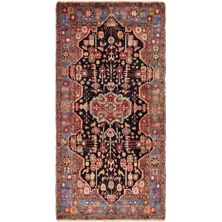 Hand Knotted Nahavand Semi Antique Wool Area Rug - 5' x 10' 2