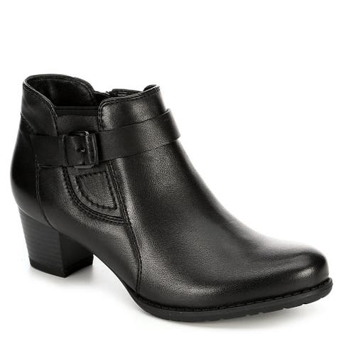 Medicus Womens Maxi Leather Heeled Ankle Boot Shoes, Black