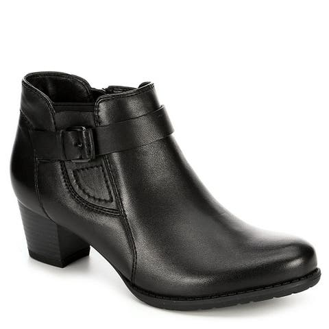 Medicus Womens Maxi Leather Heeled Ankle Boot Shoes Black