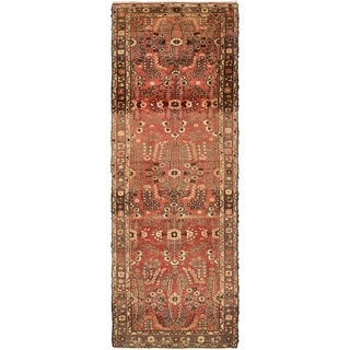 Hand Knotted Mehraban Antique Wool Runner Rug - 3' 4 x 9' 10