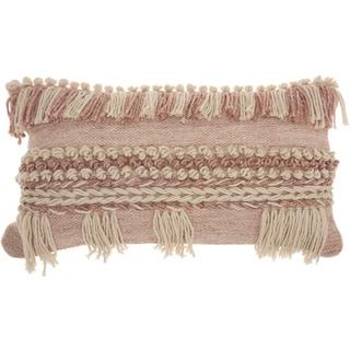 Mina Victory Handmade Blush Boho Lumbar Pillow (14 -Inch x 24 -Inch)