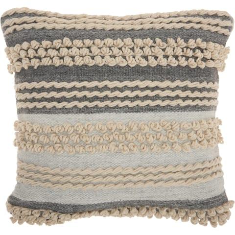 Mina Victory Handmade Textured Modern Ocean Blue Throw Pillow (20 -Inch x 20 -Inch)