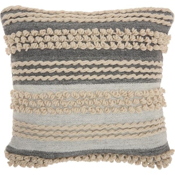 Mina Victory Handmade Textured Ocean Blue Throw Pillow (20 -Inch x 20 -Inch)