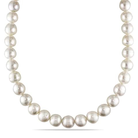 Miadora South Sea Cultured Pearl Graduated Necklace with 14k Yellow Gold Diamond Ball Clasp (11-13.5mm)