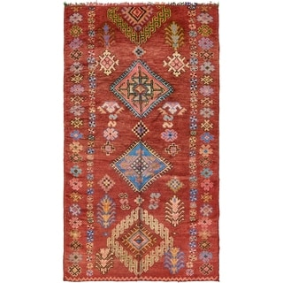 Hand Knotted Moroccan Semi Antique Wool Area Rug - 4' 10 x 8' 7