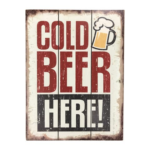 """Creative Motion """"Cold Beer Here!"""" Wood Decorative Wall Art Sign - Multi-color"""
