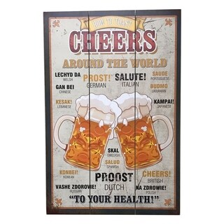 """Creative Motion Wooden Decorative Wall Art Sign with """"How To Toast Cheers Around The World"""" - Multi-color"""