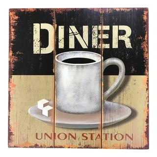 "Creative Motion ""Dinner Coffee Cup"" Wood Decorative Wall Art Sign - Multi-color"