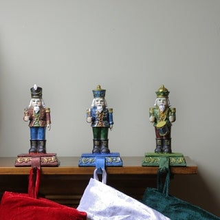 Set of 3 Red Blue and Green Nutcracker Xmas Stocking Holders 7.75""