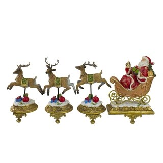 Set of 4 Santa and Reindeer Glittered Christmas Stocking Holder 9.5""