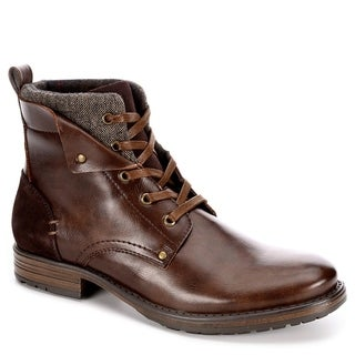 Jeffrey Tyler Mens Kolby Leather Lace Up Boot Shoes, Brown