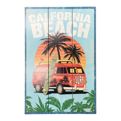 """Creative Motion Wooden Decorative Sign with """"California Beach And Surf Shop On The Side Of The VW Van"""" - Multi-color"""