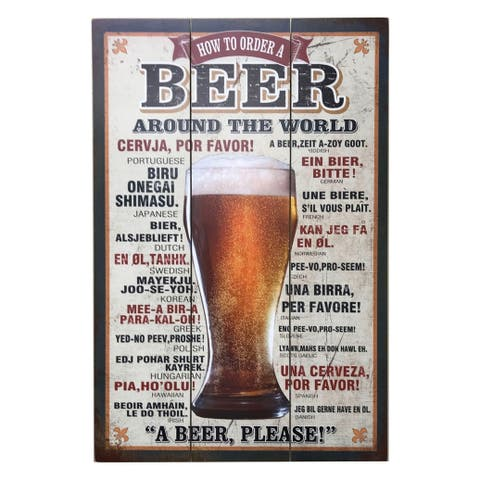 """Creative Motion Wooden Decorative Wall Sign with """"How To Order A Beer Around The World"""" - Multi-color"""