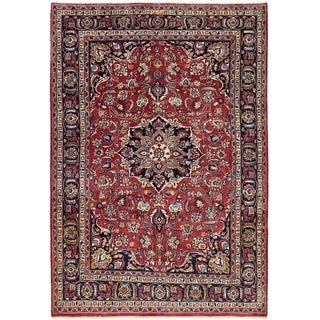 Hand Knotted Mashad Wool Area Rug - 6' 6 x 9' 5