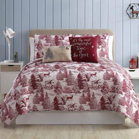 Amrapur Overseas 5-Piece Printed Aspen Reversible Quilt Set