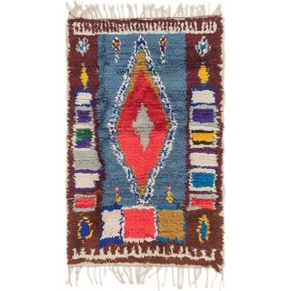 Hand Knotted Moroccan Semi Antique Wool Area Rug - Multi - 2' 10 x 4' 5