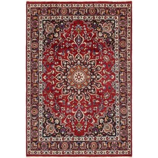 Hand Knotted Mashad Semi Antique Wool Area Rug - 6' 8 x 9' 8
