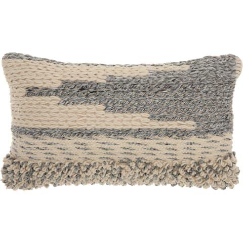 Mina Victory Handmade Ocean Blue Moroccan Lumbar Pillow (14 -Inch x 24 -Inch)