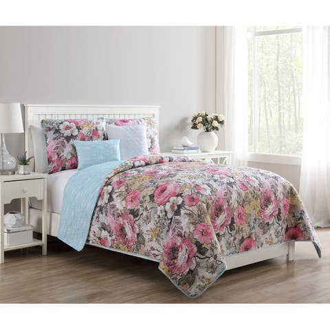 Copper Grove Novopolotsk Printed Floral Reversible Quilt Set