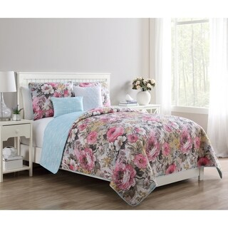 VCNY Home Lucia Printed Floral Revesible Quilt Set