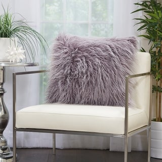 Mina Victory Plush Faux Fur Lavender Throw Pillow (20 -Inch x 20 -Inch)