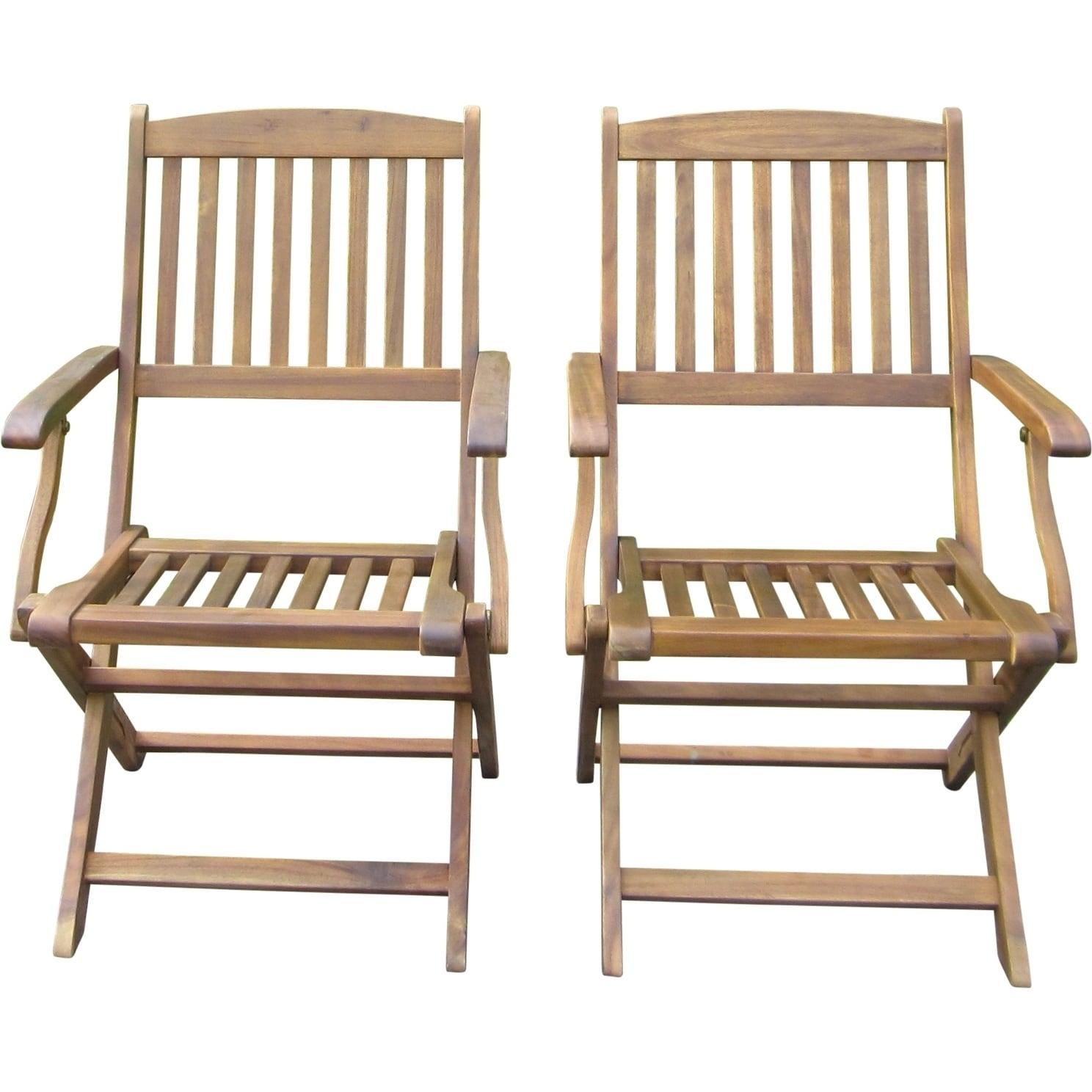 Sutton Acacia Folding Chairs Set