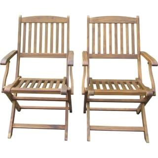 Sutton Acacia Folding Chairs (Set of 2)