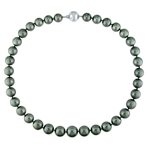 Miadora Black Tahitian Cultured Pearl Necklace with 14k White Gold Diamond Ball Clasp (10-13mm)