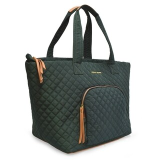 Adrienne Vittadini Large Quilted Nylon Tote-Hunter Green