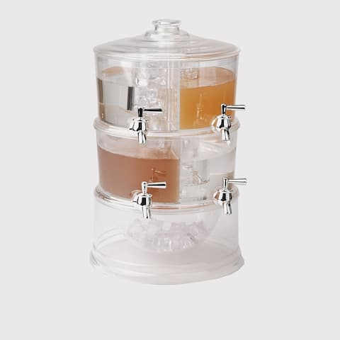 Mind Reader Beverage Dispenser, 2 Tier Stackable Drink Holder with Lids, 4 Compartment Drinks Display with Spigots, Clear