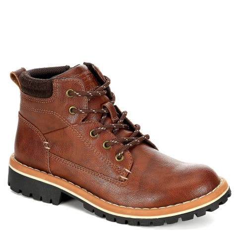 Day Five Boys Nik High Top Ankle Boot Shoes, Brown