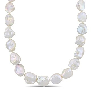 Miadora Sterling Silver Cultured Freshwater Biwa Pearl Strand with Sterling Silver Ball Clasp (11-16mm)