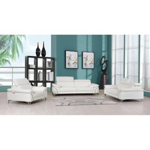 Contemporary Top Grain Leather Living Room 3PC Sofa Set