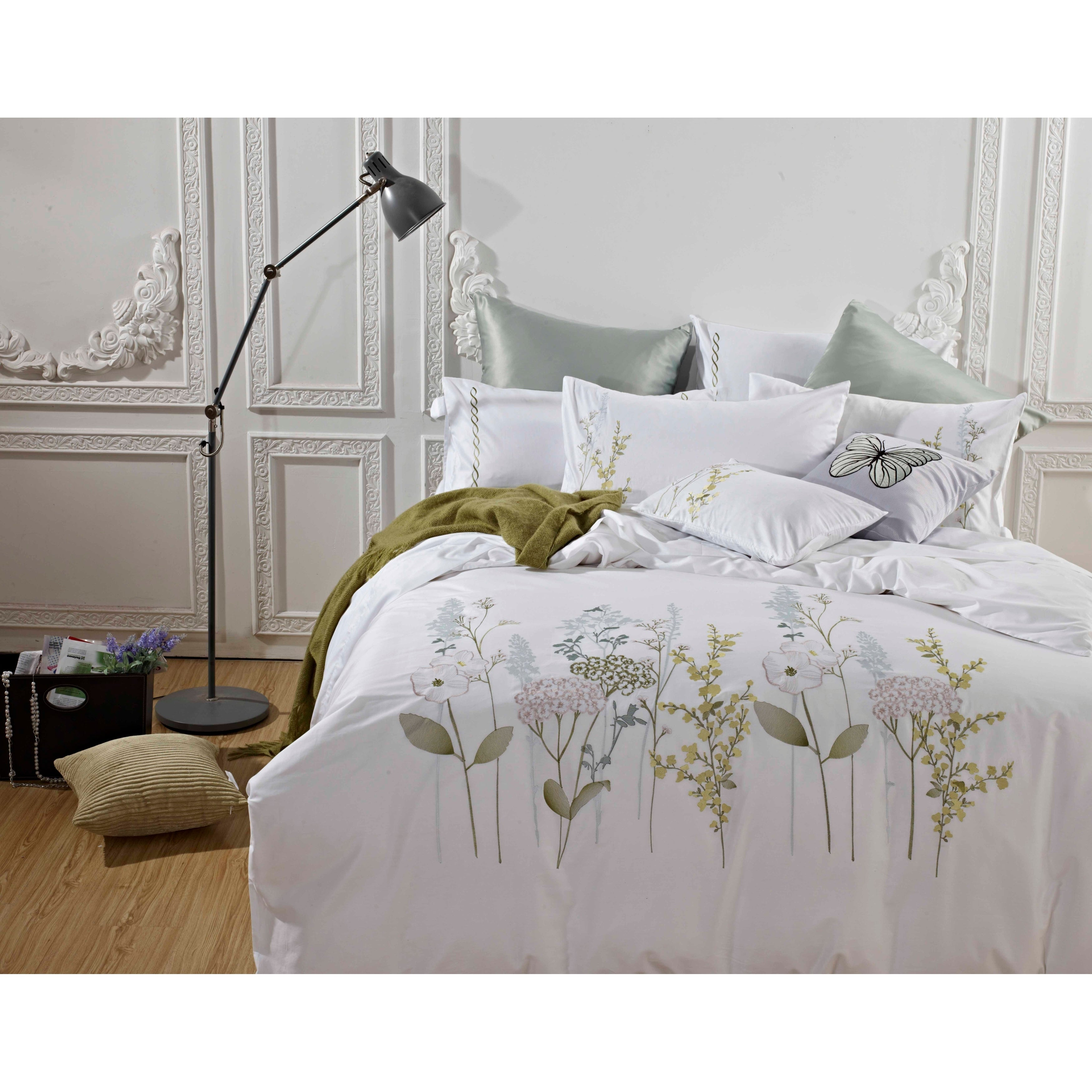Broderie Ensemble Housse De Couette Collection Spring Blossom Embroidery Duvet Set On Sale Overstock 24035710 Green 3 Piece King