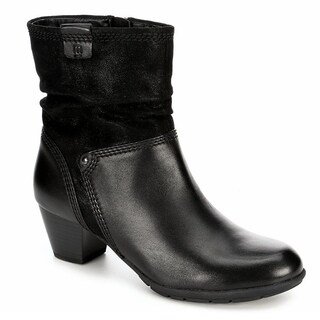 Medicus Womens Jil Heeled Zip Up Slouch Ankle Boot Shoes, Black