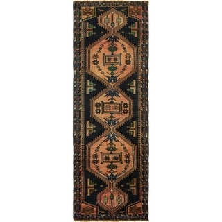 Hand Knotted Mazlaghan Semi Antique Wool Runner Rug - 3' 5 x 10' 4