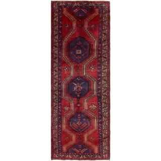 Hand Knotted Meshkin Semi Antique Wool Runner Rug - 3' 7 x 10' 5