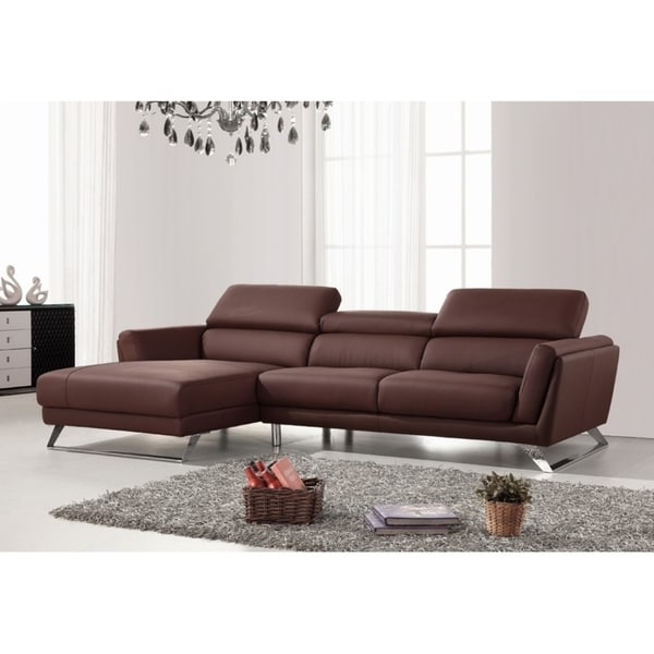 Shop Divani Casa Doss Modern Brown Eco-Leather Sectional Sofa - Free ...