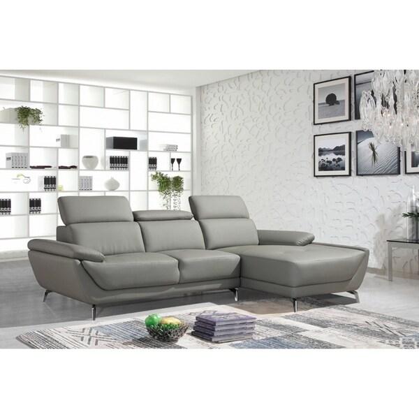 Divani Casa Leven Modern Yellow Leather Sectional Sofa: Shop Divani Casa Sterling Modern Grey Eco-Leather