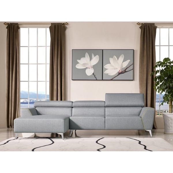 Divani Casa Leven Modern Yellow Leather Sectional Sofa: Shop Divani Casa Sawtelle Modern Gray Fabric Sectional
