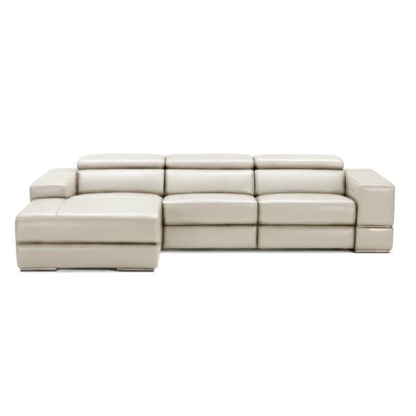 Divani Casa Leven Modern Yellow Leather Sectional Sofa: Shop Divani Casa Hilgard Modern Light Grey Leather
